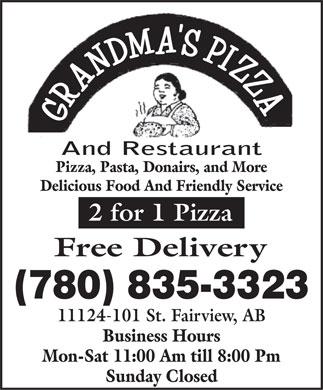 pizza pizza ad. Grande Prairie. Grandma#39;s