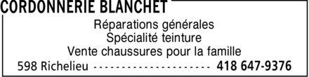 Chaussures Blanchet Enr (418-647-9376) - Annonce illustrée======= -