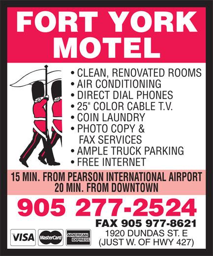 Fort York Motel (905-277-2524) - Display Ad -