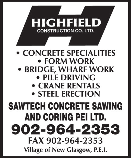 Highfield Construction Co Ltd (902-964-2353) - Annonce illustrée======= - 902-964-2353 FAX 902-964-2353
