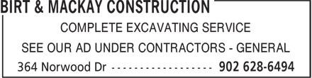 Birt & MacKay Construction (902-628-6494) - Annonce illustrée======= -
