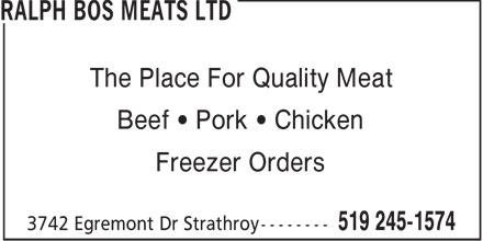 Ralph Bos Meats Ltd 3742 Egremont Dr Strathroy On