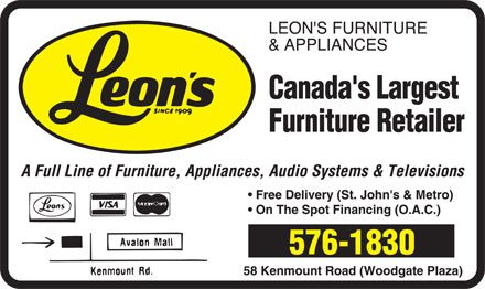 Leon's Furniture (709-576-1830) - Display Ad -