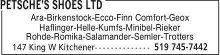 Petsche's Shoes Ltd (519-745-7442) - Display Ad - Ara-Birkenstock-Ecco-Finn Comfort-Geox Haflinger-Helle-Kumfs-Minibel-Rieker Rohde-Romika-Salamander-Semler-Trotters  Ara-Birkenstock-Ecco-Finn Comfort-Geox Haflinger-Helle-Kumfs-Minibel-Rieker Rohde-Romika-Salamander-Semler-Trotters  Ara-Birkenstock-Ecco-Finn Comfort-Geox Haflinger-Helle-Kumfs-Minibel-Rieker Rohde-Romika-Salamander-Semler-Trotters  Ara-Birkenstock-Ecco-Finn Comfort-Geox Haflinger-Helle-Kumfs-Minibel-Rieker Rohde-Romika-Salamander-Semler-Trotters