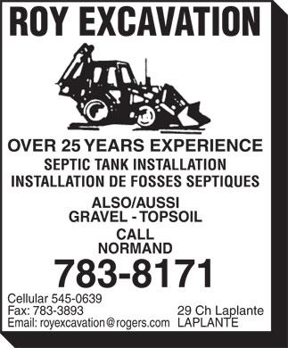 Roy Excavation (506-783-8171) - Display Ad -