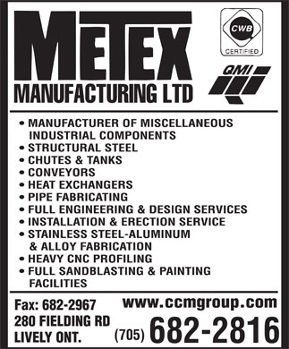 Metex Manufacturing Ltd (705-682-2816) - Display Ad - www.ccmgroup.com www.ccmgroup.com