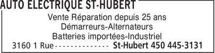 Ads Auto Electrique St-Hubert