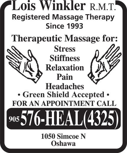 Winkler Lois Registered Massage Therapist (905-576-4325) - Display Ad - Green Shield Accepted Green Shield Accepted  Green Shield Accepted