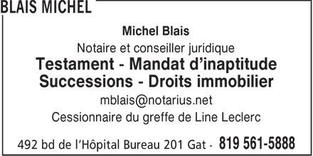 Blais Michel (819-561-5888) - Annonce illustrée======= -