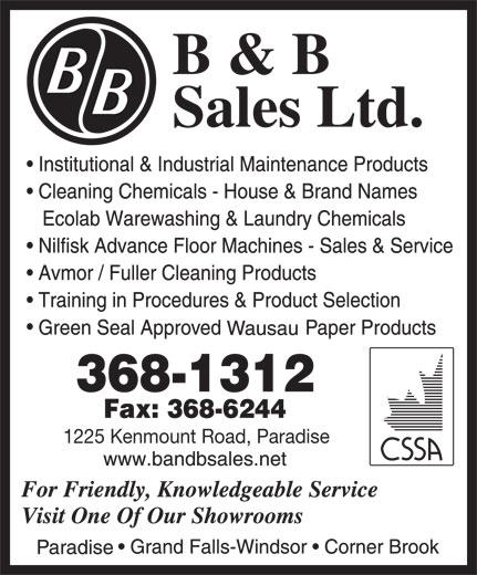 B & B Sales Ltd (709-368-1312) - Annonce illustrée======= - 1225 Kenmount Road, Paradise