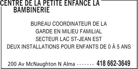 Ads Centre De La Petite Enfance La Bambinerie