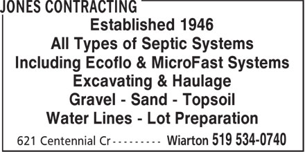 Jones Contracting (519-534-0740) - Display Ad - Established 1946 All Types of Septic Systems Including Ecoflo & MicroFast Systems Water Lines - Lot Preparation Excavating & Haulage Gravel - Sand - Topsoil