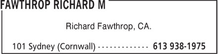 Fawthrop Richard M (613-938-1975) - Annonce illustrée======= - Richard Fawthrop, CA.
