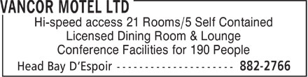 Vancor Motel Ltd (709-882-2766) - Annonce illustrée======= -