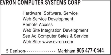 Evron Computer Systems Corp (905-477-0444) - Annonce illustrée======= -
