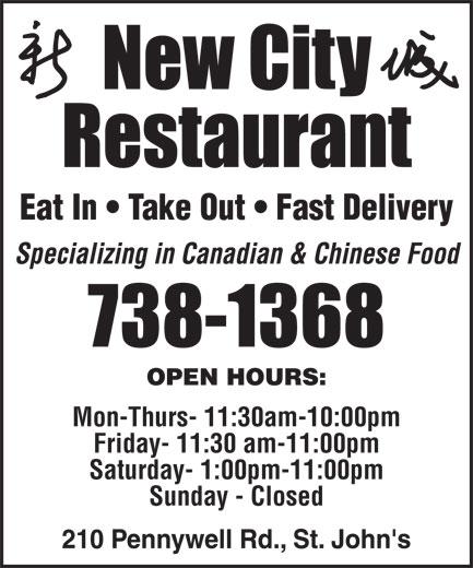 New City Restaurant (709-738-1368) - Annonce illustrée======= -
