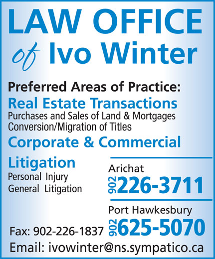 Law office of Ivo Winter (902-226-3711) - Annonce illustrée======= - Conversion/Migration of Titles