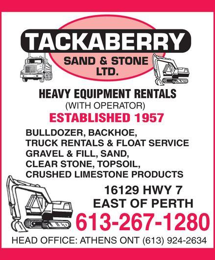Tackaberry Sand & Stone Ltd (613-267-1280) - Annonce illustrée======= -