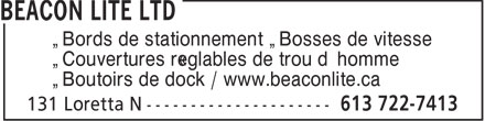 Beacon Lite Ltd (613-722-7413) - Display Ad - • Bords de stationnement • Bosses de vitesse • Couvertures réglables de trou d'homme • Boutoirs de dock / www.beaconlite.ca
