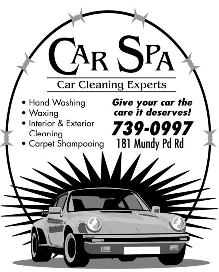 Car Spa (709-739-0997) - Annonce illustrée======= - CAR SPA Car Cleaning Experts Hand Washing Waxing Interior & Exterior Cleaning Carpet Shampooing Give your car the best care it deserves! 739-0997 181 Mundy Pd Rd