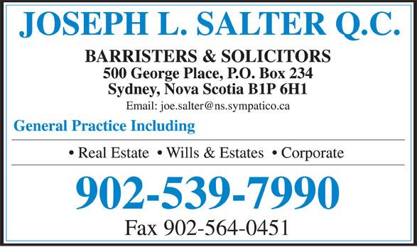 Salter Joseph L QC (902-539-7990) - Display Ad - Fax 902-564-0451 902-539-7990
