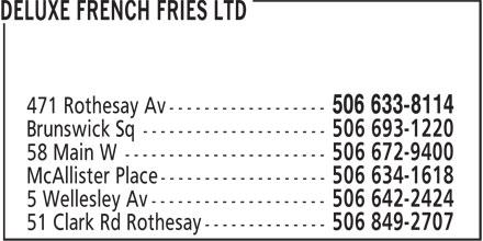 Deluxe French Fries Ltd (506-633-8114) - Annonce illustrée======= -