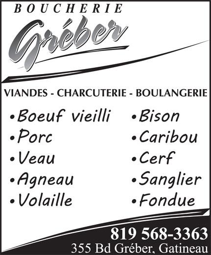 Boucherie Gréber (819-568-3363) - Annonce illustrée======= -
