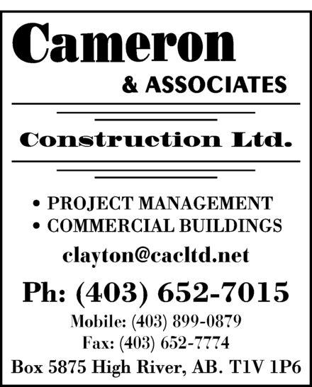 Cameron & Associates Construction Ltd (403-652-7015) - Display Ad -