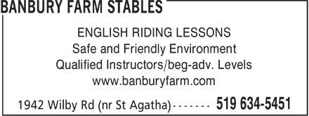 Banbury Farm Stables (519-634-5451) - Annonce illustrée======= - ENGLISH RIDING LESSONS Safe and Friendly Environment Qualified Instructors/beg-adv. Levels www.banburyfarm.com