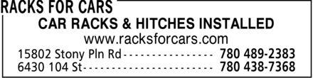 Racks For Cars (780-438-7368) - Annonce illustrée======= - www.racksforcars.com CAR RACKS & HITCHES INSTALLED