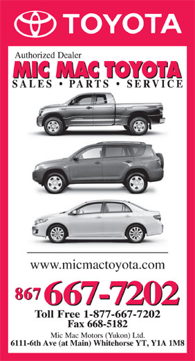 Mic Mac Toyota (867-667-7202) - Annonce illustrée======= - www.micmactoyota.com  www.micmactoyota.com