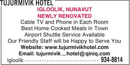 Tujurmivik Hotel (867-934-8814) - Annonce illustrée======= -