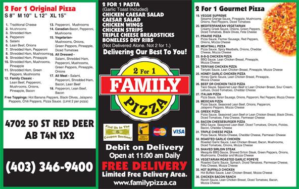 Family Pizza (403-346-9400) - Display Ad - (403) 346-9400 Mushrooms 4702 50 ST RED DEER AB T4N 1X2