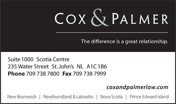 Cox & Palmer (709-738-7800) - Annonce illustrée======= -