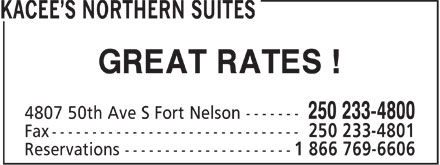 Kacee's Northern Suites (250-233-4800) - Display Ad - GREAT RATES !