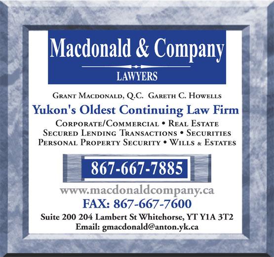 Macdonald & Company (867-667-7885) - Annonce illustrée======= -