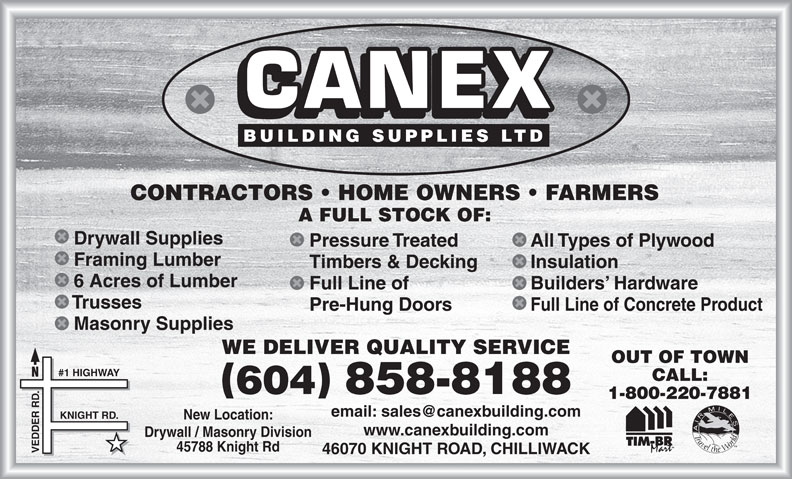 Canex Building Supplies Ltd (604-858-8188) - Annonce illustrée======= -