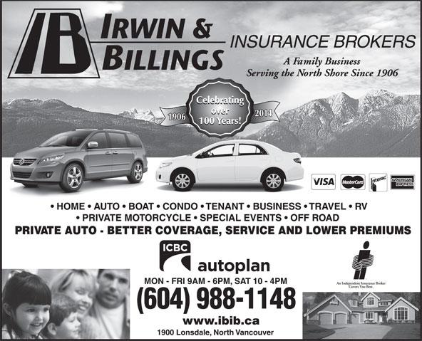 Irwin & Billings Insurance (604-988-1148) - Annonce illustrée======= -
