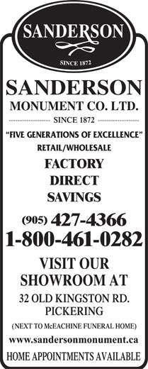 Sanderson Monument Company Limited (905-427-4366) - Display Ad -