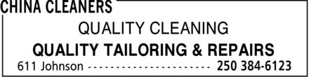 China Cleaners (250-384-6123) - Annonce illustrée======= - QUALITY CLEANING QUALITY TAILORING & REPAIRS  QUALITY CLEANING QUALITY TAILORING & REPAIRS