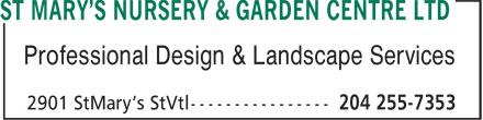 St Mary's Nursery & Garden Centre Ltd (204-255-7353) - Annonce illustrée======= - Professional Design & Landscape Services
