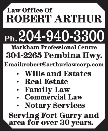Arthur Robert Law Office (204-940-3300) - Display Ad - 204-940-3300 204-940-3300