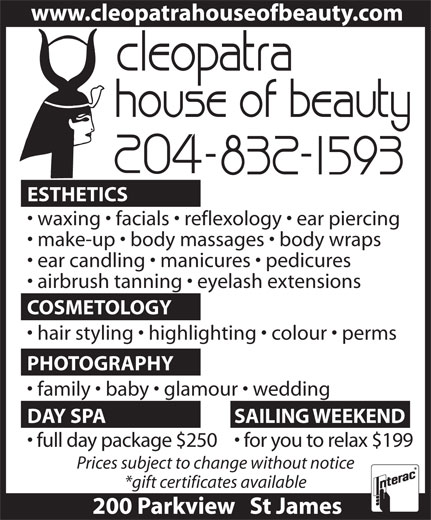 Cleopatra House Of Beauty (204-832-1593) - Annonce illustrée======= -