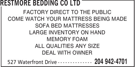 Restmore Bedding Co Ltd (204-942-4701) - Annonce illustrée======= -