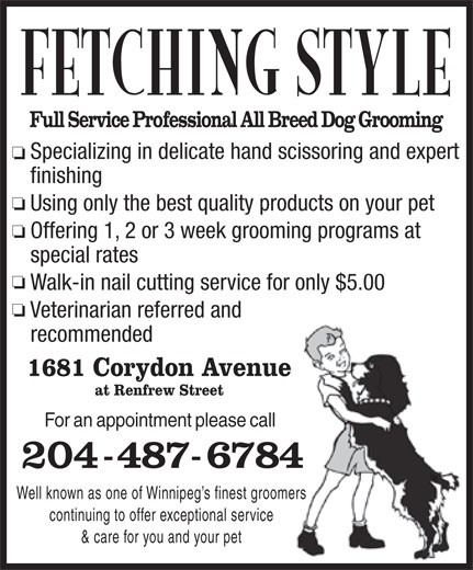 Fetching Style Grooming (204-487-6784) - Annonce illustrée======= -