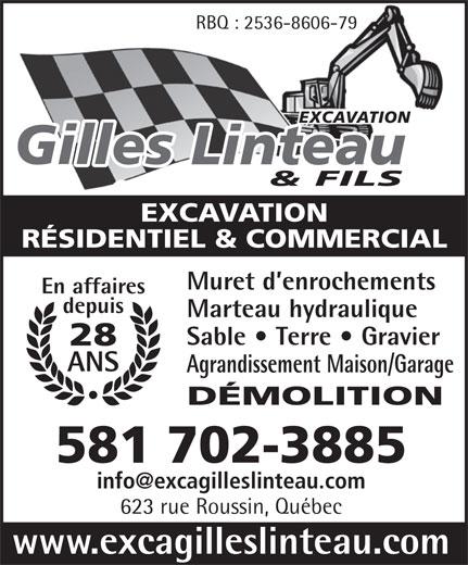 Excavation Gilles Linteau & Fils Inc (418-849-5606) - Annonce illustrée======= -