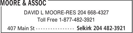 D.L. Moore & Associate (204-482-3921) - Annonce illustrée======= - DAVID L MOORE-RES 204 668-4327 Toll Free 1-877-482-3921