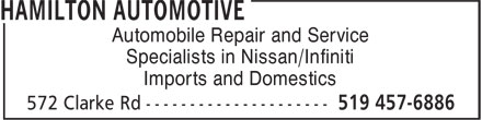 Hamilton Automotive (519-457-6886) - Display Ad - Automobile Repair and Service Specialists in Nissan/Infiniti Imports and Domestics