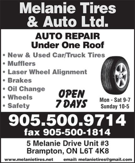 Melanie Auto & Tire Services (905-500-9714) - Display Ad -
