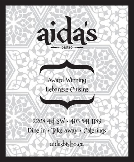 Aida's Mediterranean Bistro (403-541-1189) - Display Ad -